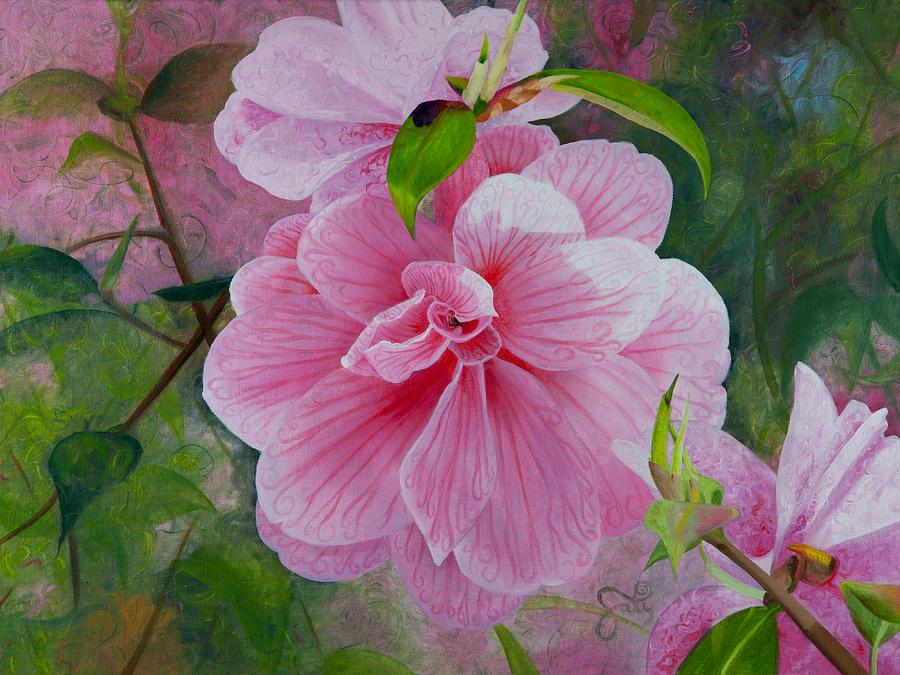 Pink Swirl Garden Painting