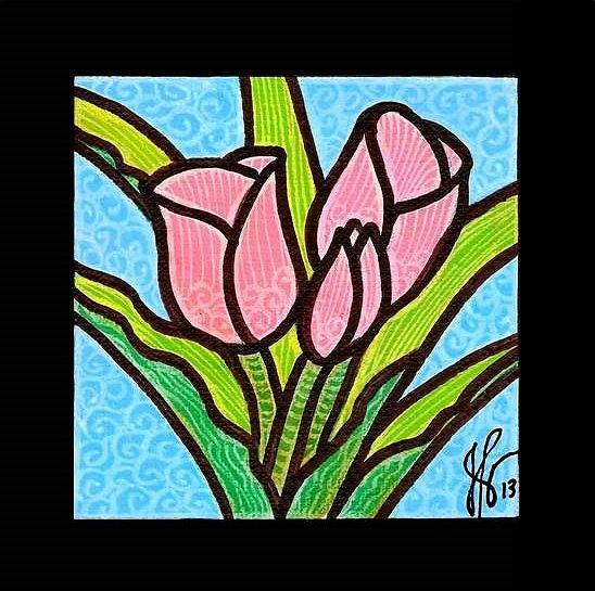 Tulips Painting - Pink Tulip Trinity by Jim Harris