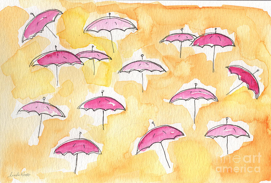 Pink Umbrellas Painting