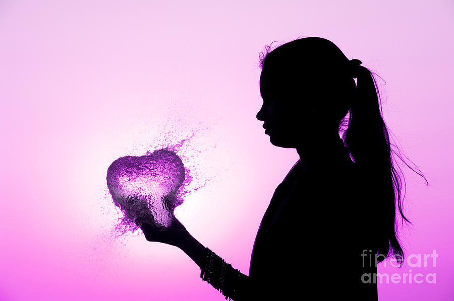 Pink Water Heart Photograph  - Pink Water Heart Fine Art Print