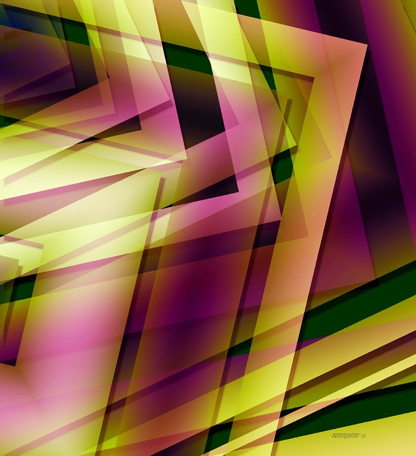 Pink Yellow And Green Geometry Digital Art