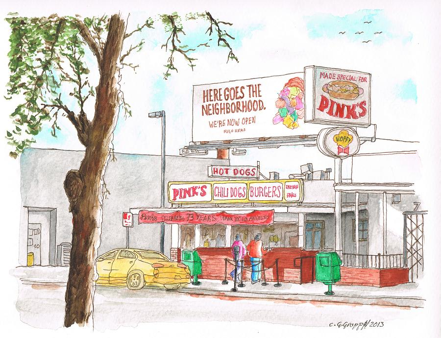 Pinks Chili Dogs - Hollywood - California Painting  - Pinks Chili Dogs - Hollywood - California Fine Art Print