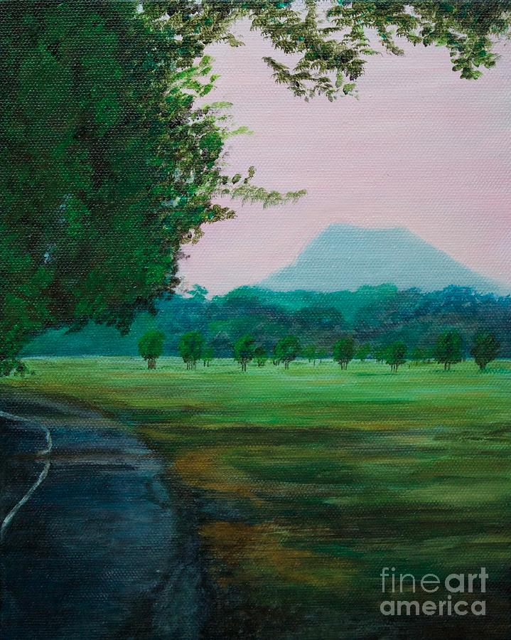 Mountain Painting - Pinnacle Mountain At Sunset From Two Rivers Park by Amber Woodrum
