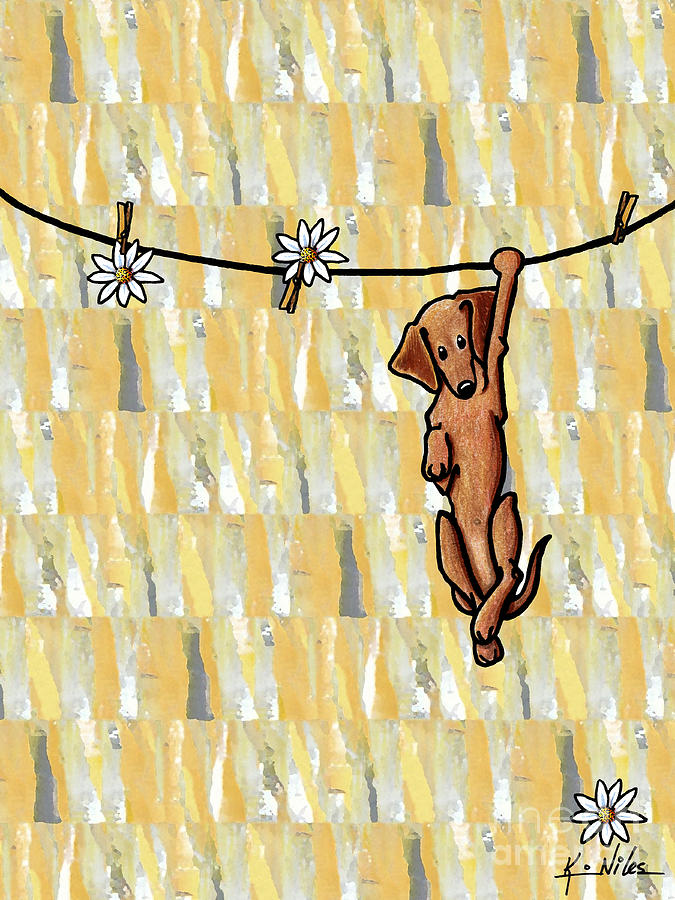 Doxie Drawing - Pinning Down Daisies by Kim Niles