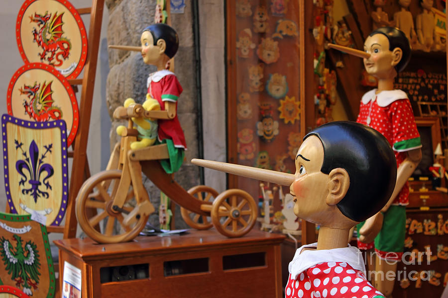 Pinocchio Inviting Tourists In Souvenirs Shop Photograph