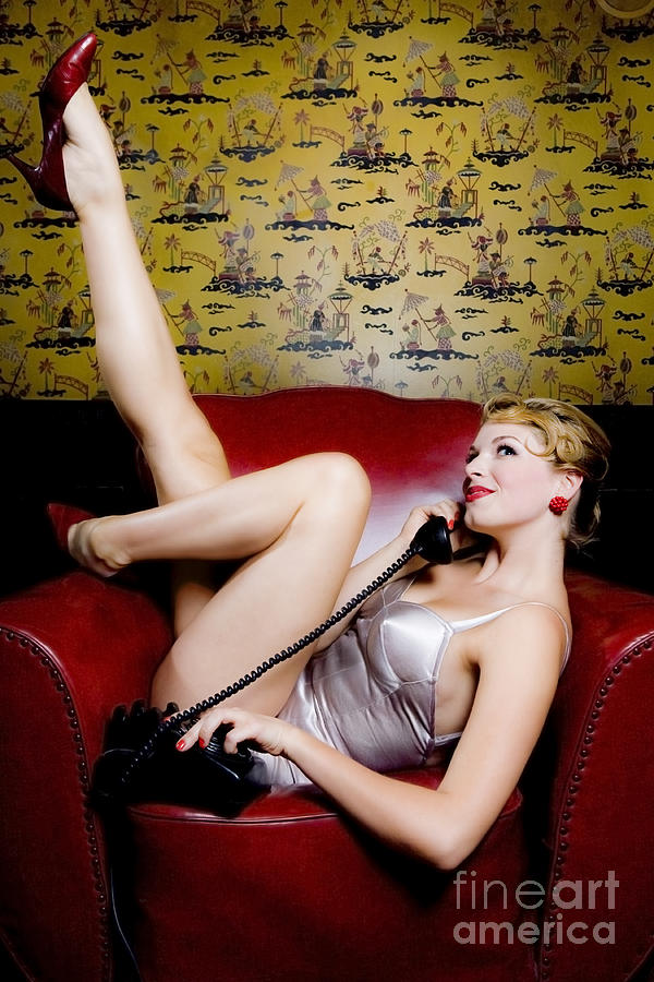 Pinup Girl With Phone Photograph  - Pinup Girl With Phone Fine Art Print