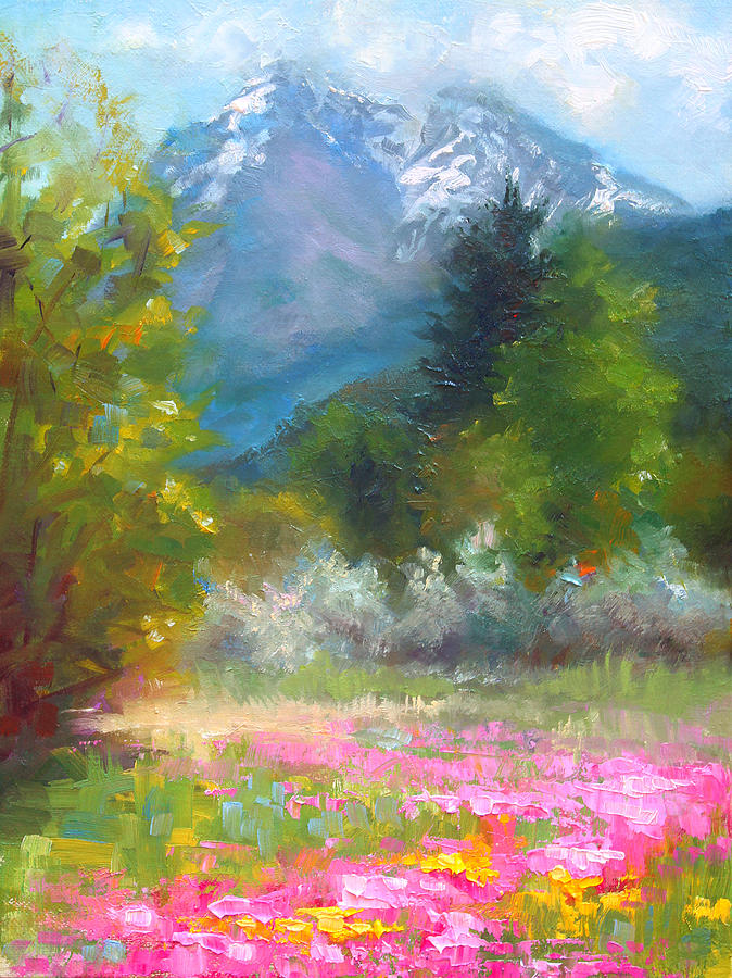 Pioneer Peaking - Flowers And Mountain In Alaska Painting  - Pioneer Peaking - Flowers And Mountain In Alaska Fine Art Print