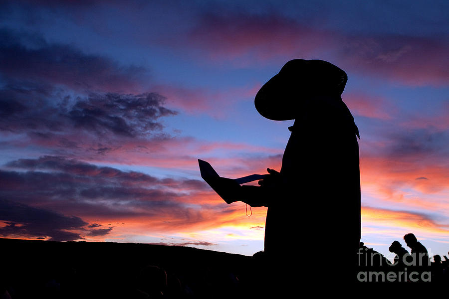 Pioneer Silhouette Reading Letter Photograph