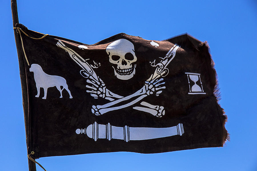 Pirate Flag With Skull And Pistols  Es Photograph  - Pirate Flag With Skull And Pistols  Es Fine Art Print