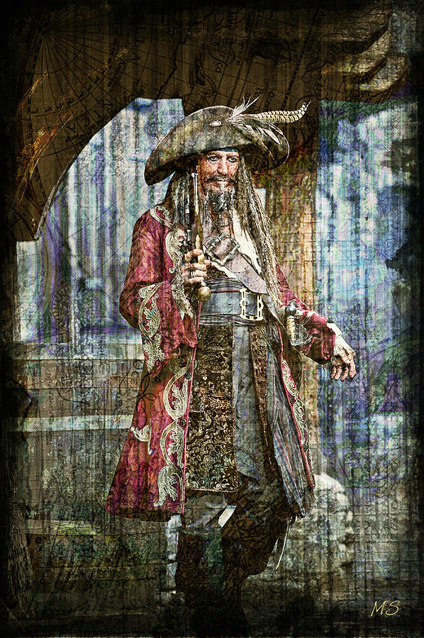 Pirate Keith Richards - Steampunk Digital Art  - Pirate Keith Richards - Steampunk Fine Art Print