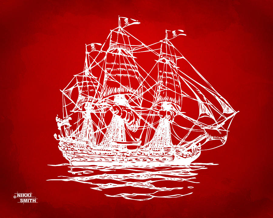 Pirate Ship Artwork - Red Drawing