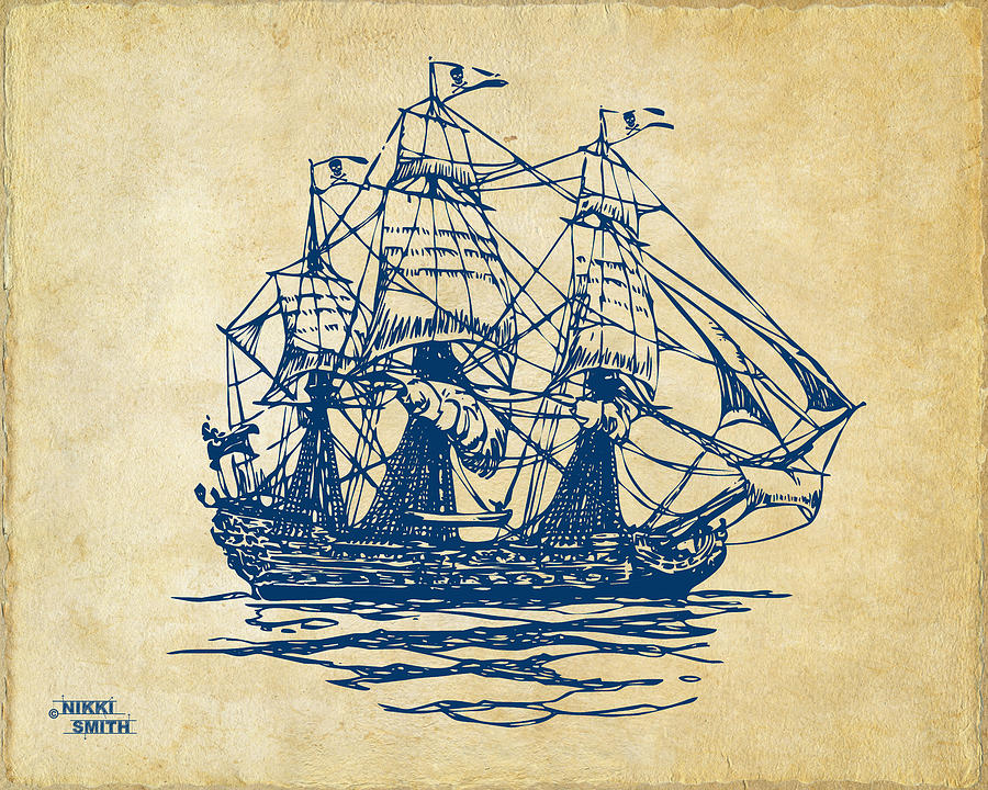 Pirate Ship Artwork - Vintage Drawing