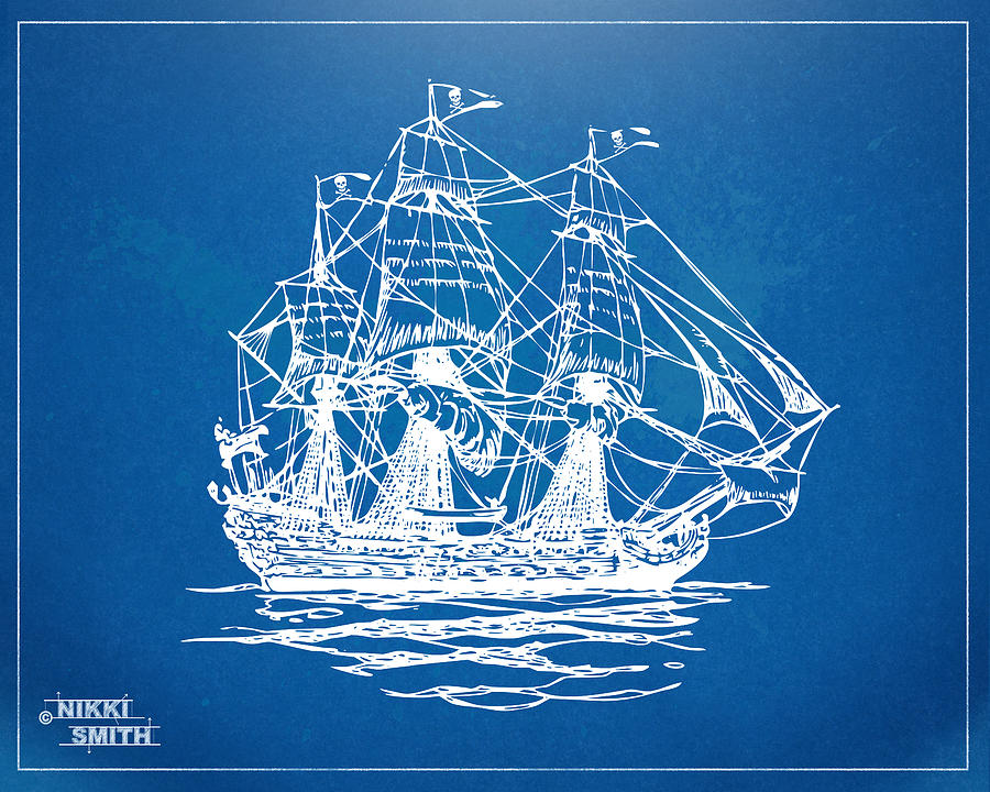 Pirate Ship Blueprint Artwork Drawing