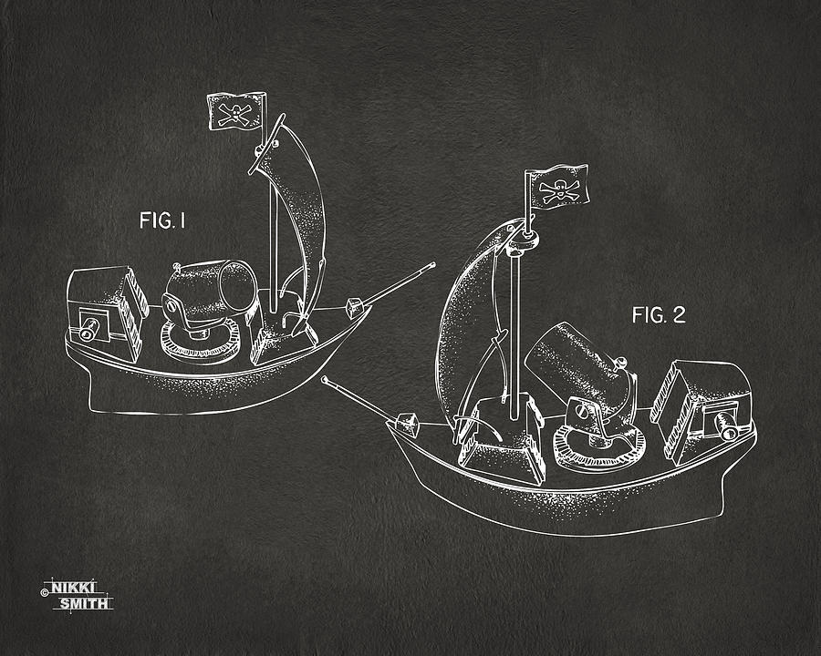 Pirate Ship Patent Artwork - Gray Drawing