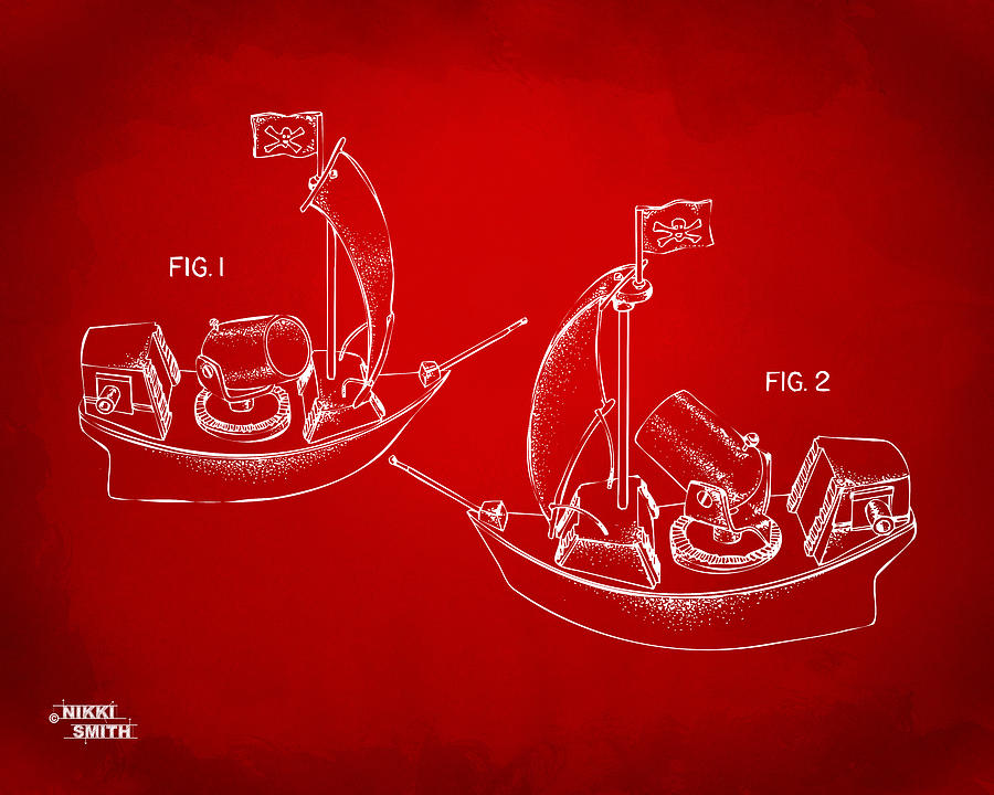 Pirate Ship Patent Artwork - Red Drawing