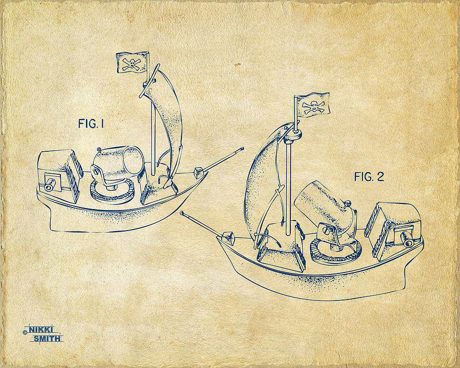 Pirate Ship Patent Artwork - Vintage Drawing