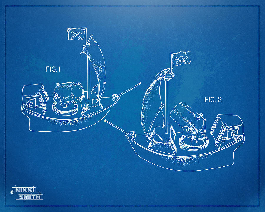 Pirate Ship Patent - Blueprint Digital Art