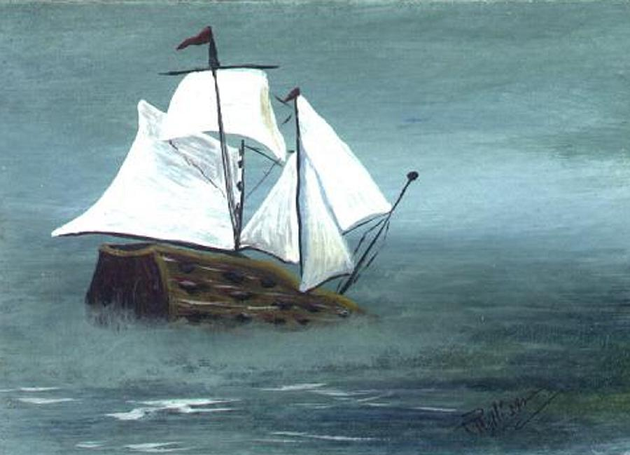 Pirate Painting - Pirate Ship by Phyllisann Arthurs