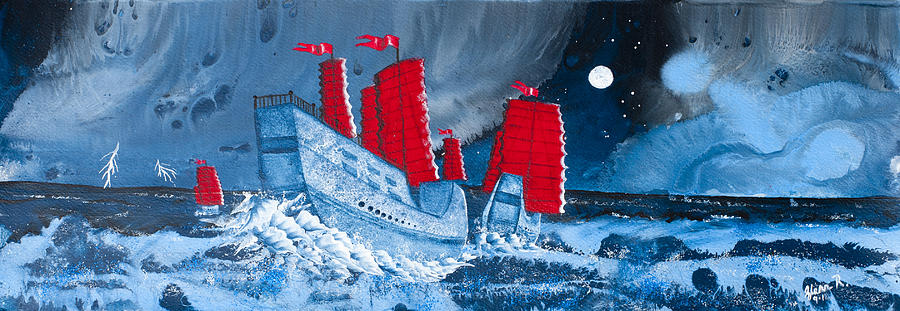 Pirate Ships In A Storm In The  South China Sea Painting