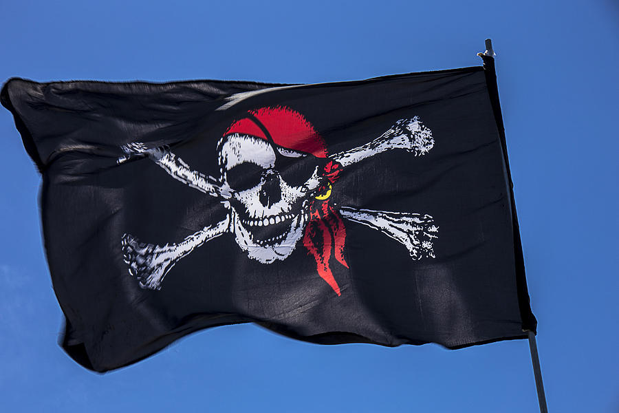 Pirate Skull Flag With Red Scarf Photograph  - Pirate Skull Flag With Red Scarf Fine Art Print
