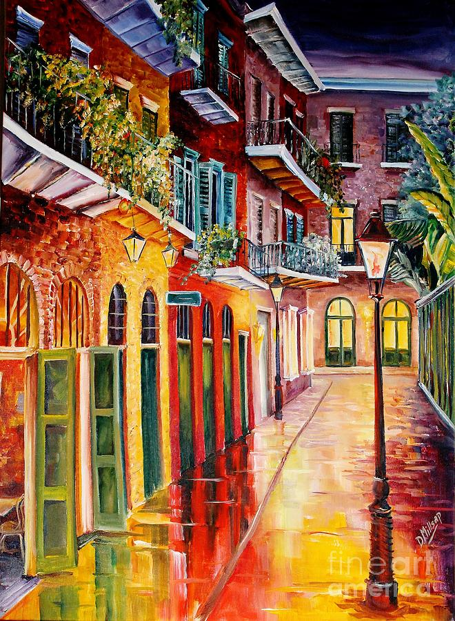 New Orleans Painting - Pirates Alley By Night by Diane Millsap