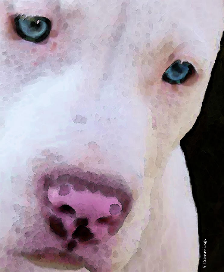 Pit Bull Painting - Pit Bull Art - Not A Fighter by Sharon Cummings