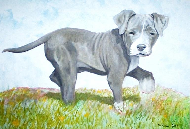 Pitbull Puppy Painting  - Pitbull Puppy Fine Art Print