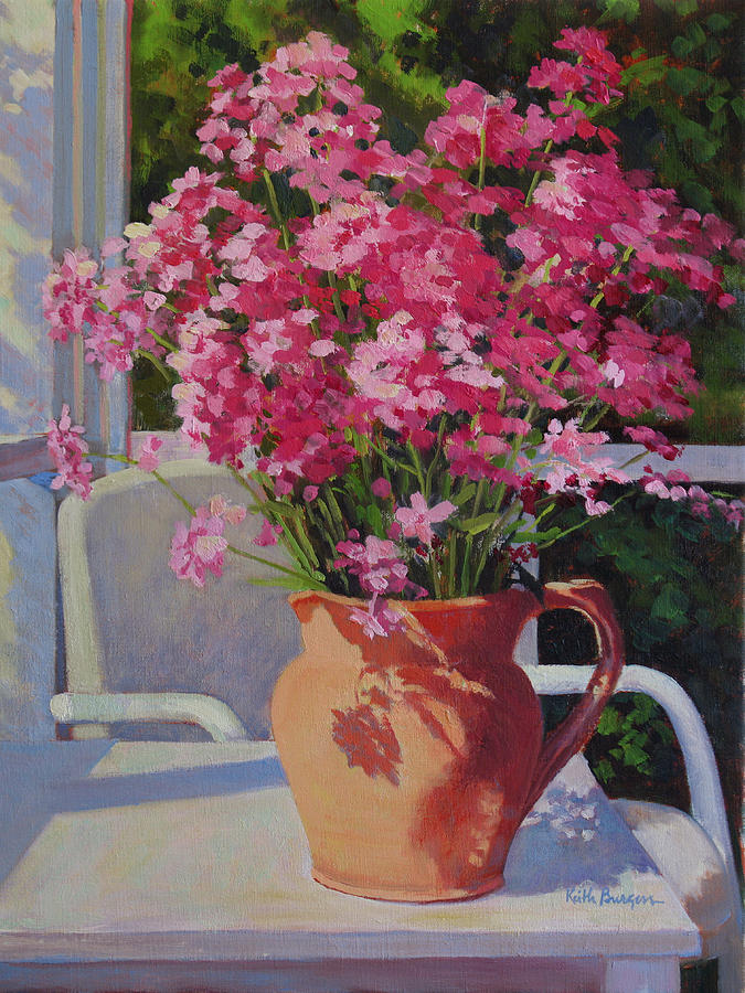 Pitcher With Phlox Painting