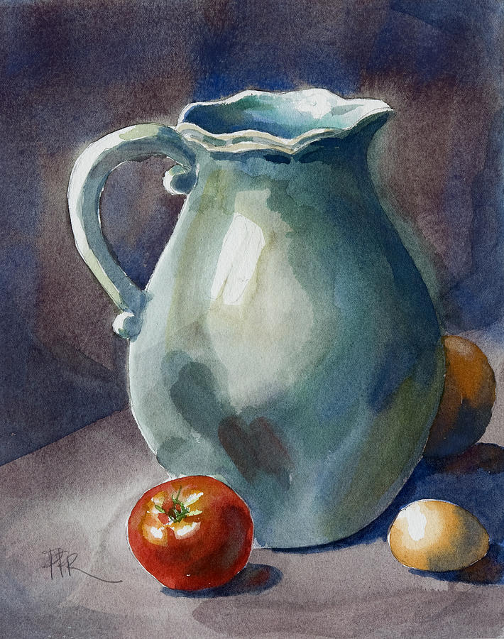 Tomato Painting - Pitcher With Tomato by Pablo Rivera