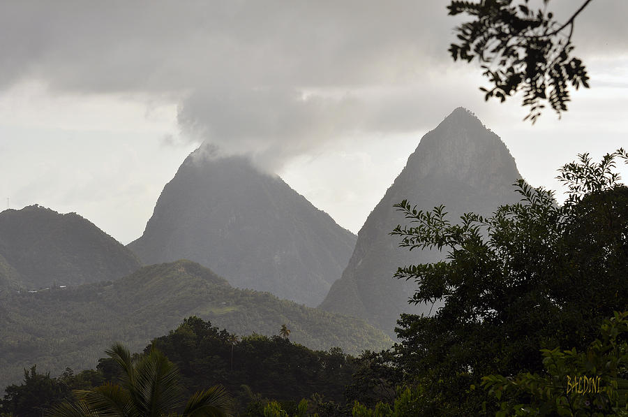 Pitons Photograph - Pitons St Lucia by J R Baldini Master Photographer