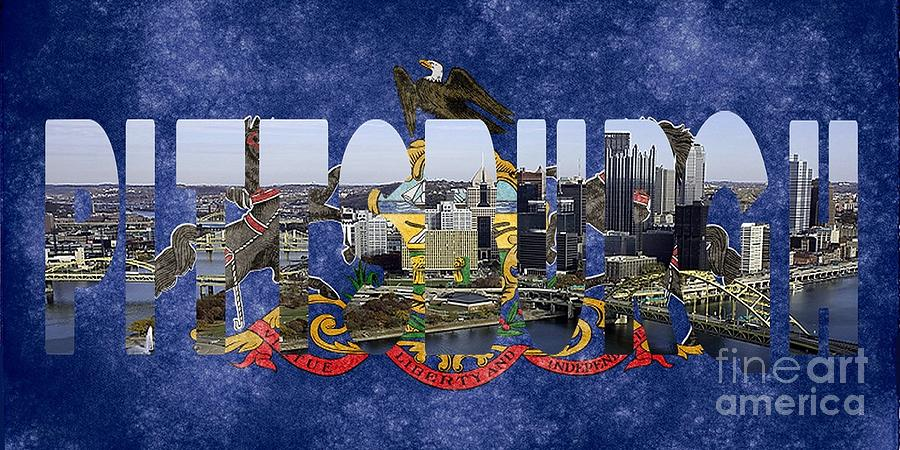 Pittsburgh Skyline With State Flag Photograph