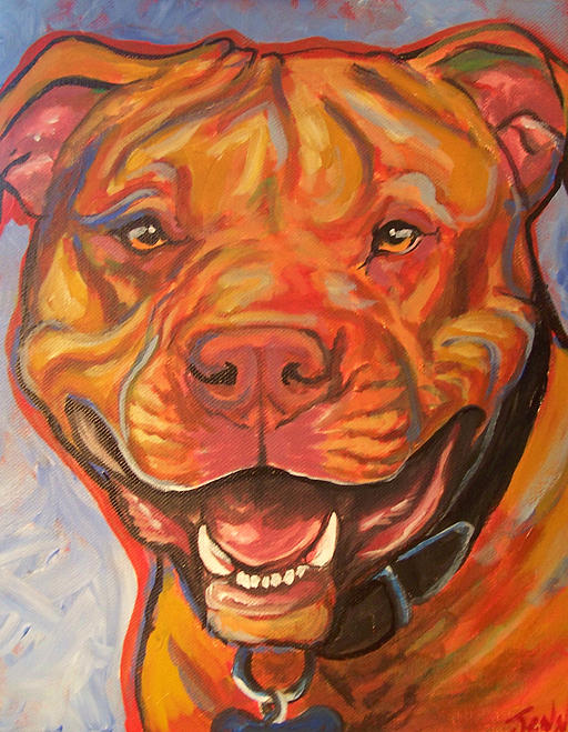 Pitty Painting - Pitty Smile by Jenn Cunningham