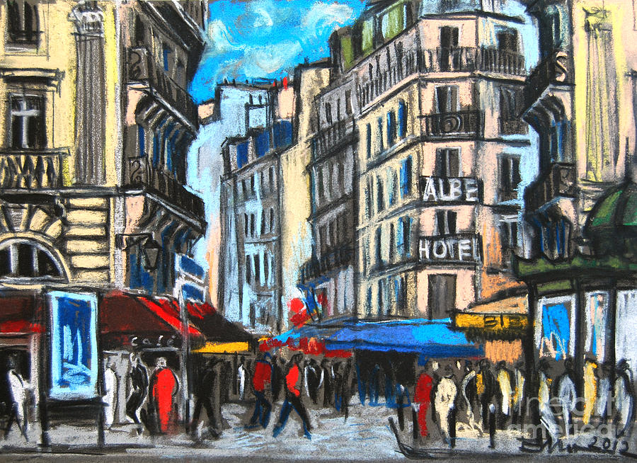 Place Saint-michel In Paris Painting  - Place Saint-michel In Paris Fine Art Print