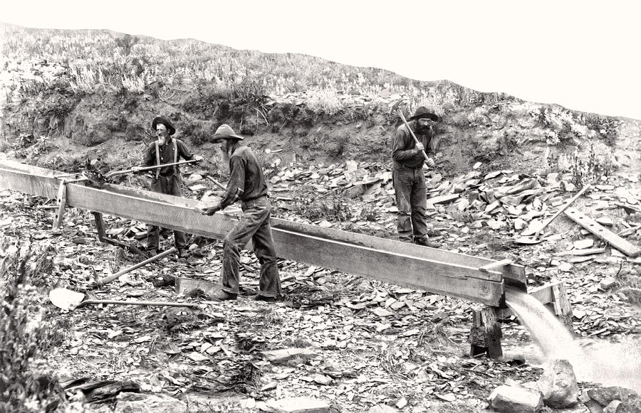 Placer Gold Mining C. 1889 Photograph  - Placer Gold Mining C. 1889 Fine Art Print