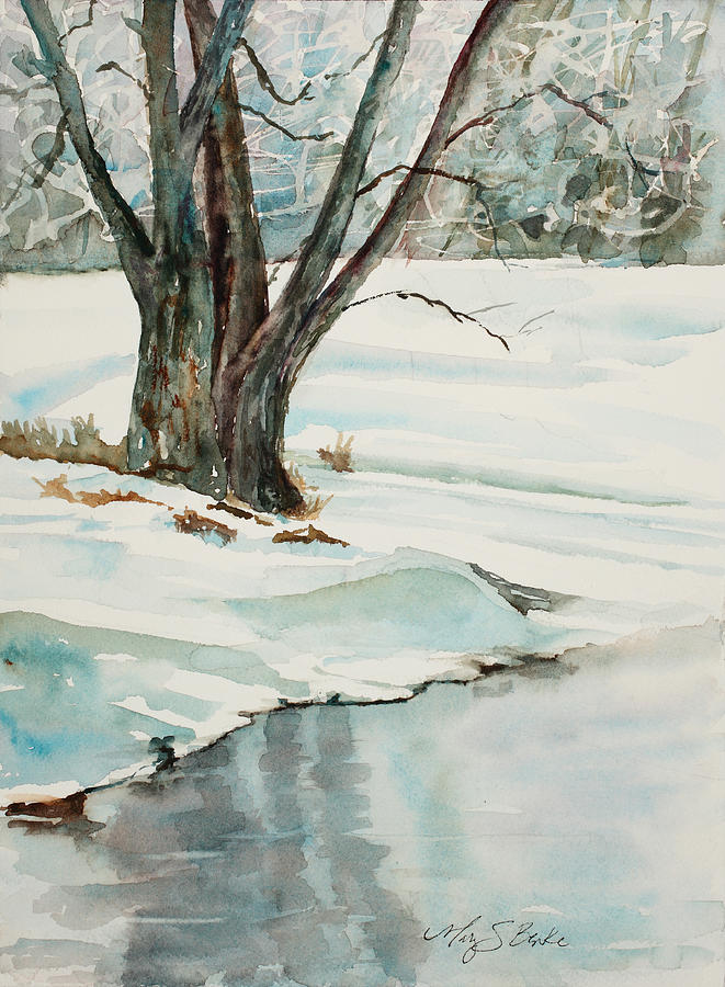 Snow Painting - Placid Winter Morning by Mary Benke