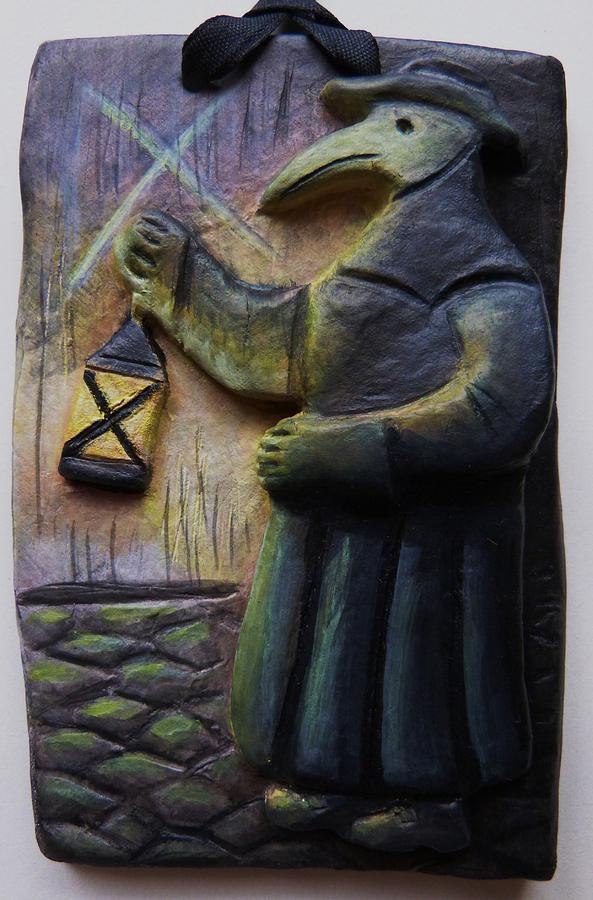 Plague Doctor With Lantern Relief