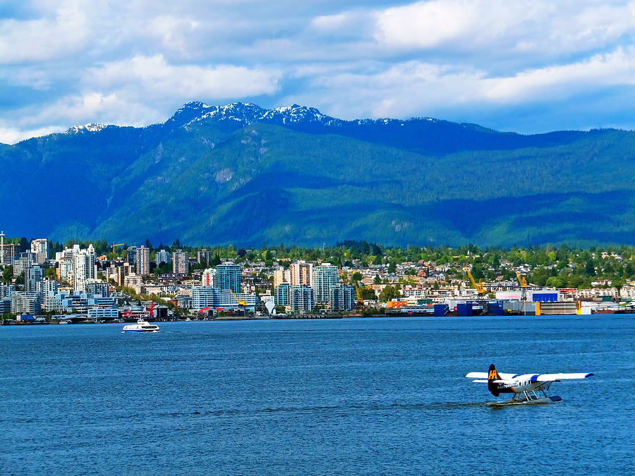 Planes Boats And Mountains In Vancouver  Photograph  - Planes Boats And Mountains In Vancouver  Fine Art Print