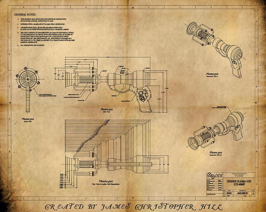 Steampunk Painting - Plasma Gun by James Christopher Hill