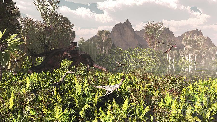 Plateosaurus And Ceolophysis Dinosaurs Digital Art