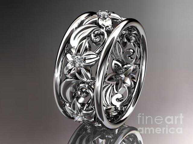 Platinum Diamond Leaf And Vine Wedding Ring Engagement Ring Wedding Band Nature Inspired Je Jewelry