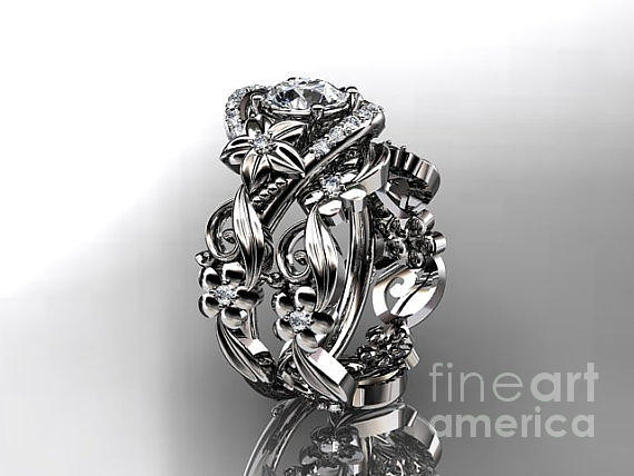 Platinum Diamond Unique Flower Leaf And Vine Engagement Ring Set Adlr211s   Jewelry