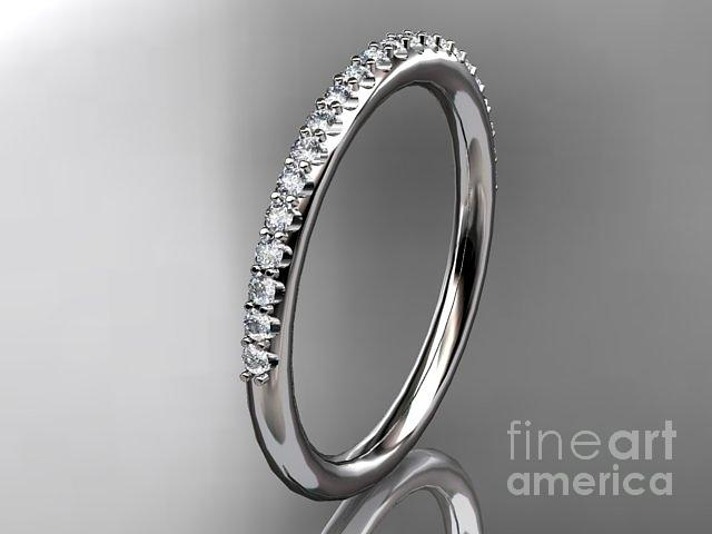 Platinum Diamond Unique Wedding Ring Engagement Ring Wedding Band Stacking Ring  Jewelry 