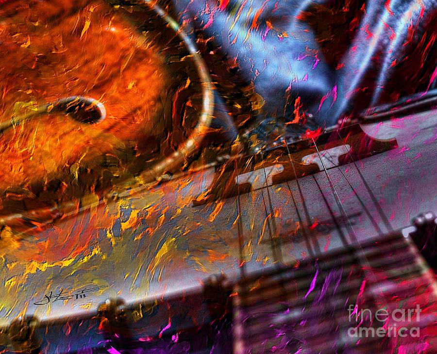 Play It Again Sam Digital Guitar And Banjo Art By Steven Langston Photograph  - Play It Again Sam Digital Guitar And Banjo Art By Steven Langston Fine Art Print