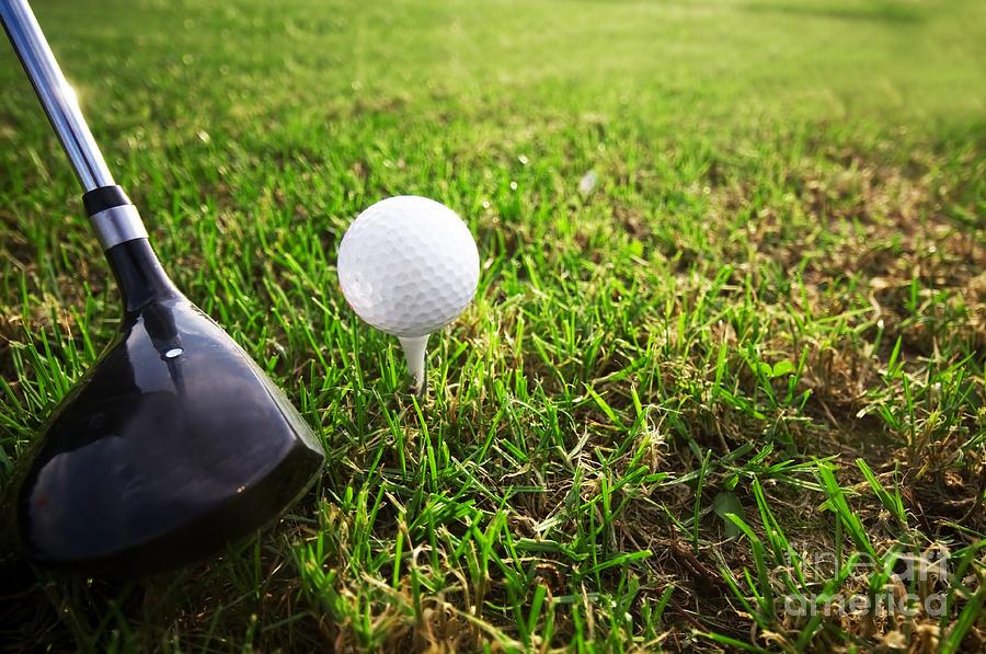Playing Golf. Club And Ball On Tee Photograph