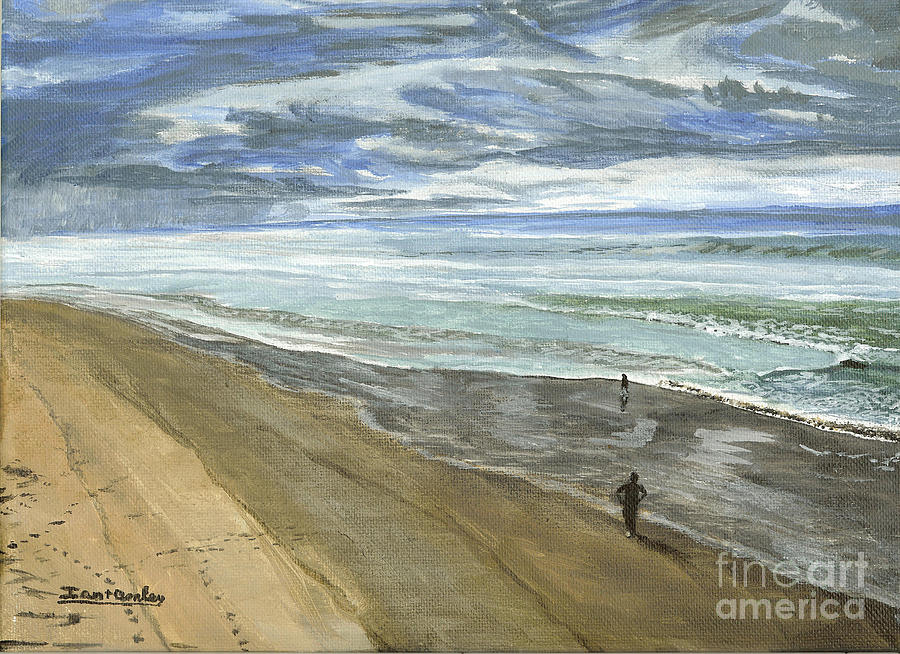 Playing On The Oregon Coast Painting  - Playing On The Oregon Coast Fine Art Print