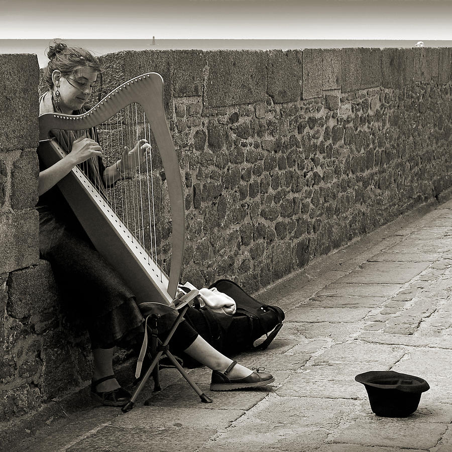 Playing The Celtic Harp Photograph  - Playing The Celtic Harp Fine Art Print