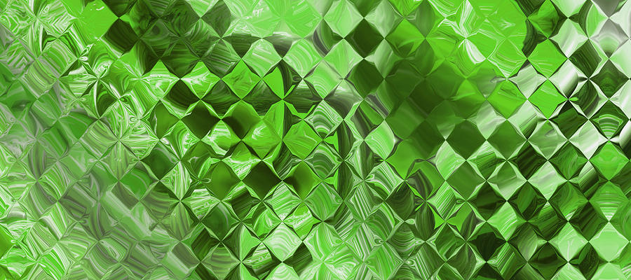 Playing With Squares - Green Digital Art  - Playing With Squares - Green Fine Art Print