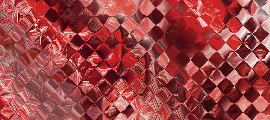 Playing With Squares - Red Digital Art