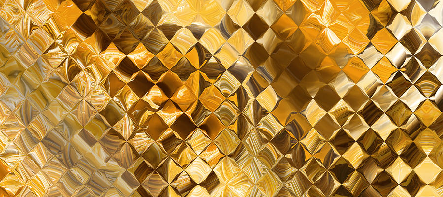 Playing With Squares- Gold Digital Art