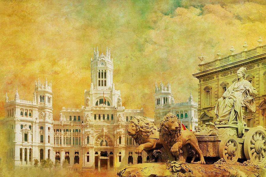 plaza de cibeles city hall madrid painting by catf
